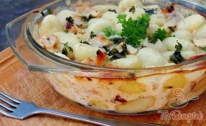 Háromsajtos-csirkés sült gnocchi