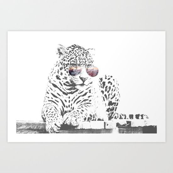 Cool Cat Art Print by Tides & Tulips. Worldwide shipping available at Society6.com. Just one of millions of high quality products available.
