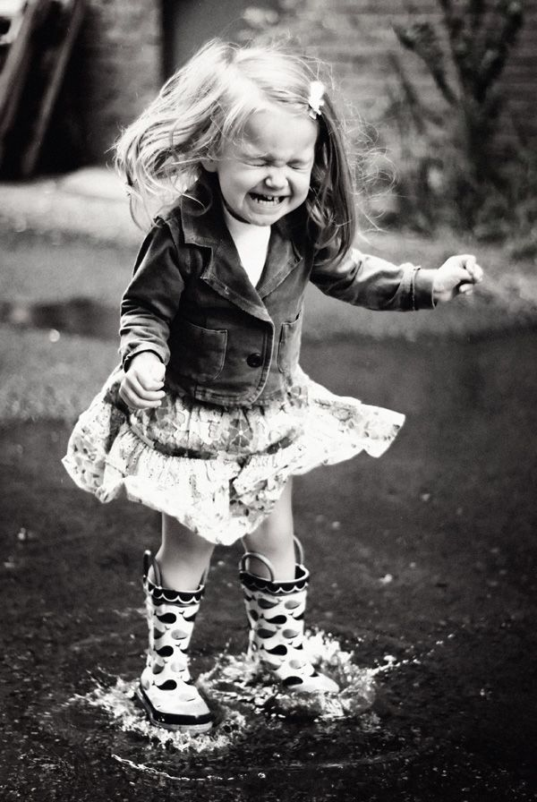 Puddle excitement - I remember doing this when I was little!