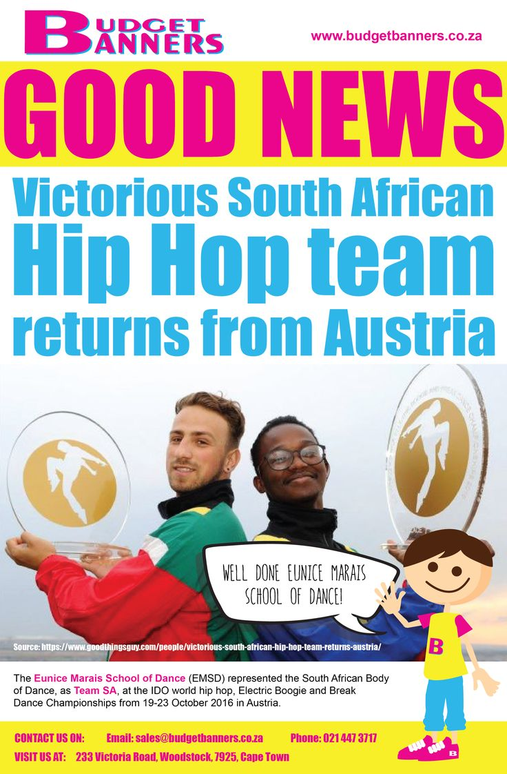 ur #ProudlySA performers were making a global impression at the IDO Hip Hop World-Championships 2016. Well done to Eunice Marais School of Dance who represented us in Austria this year! #GoodNewsMonday