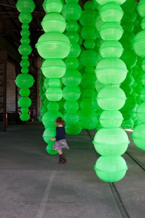 Green strainers at Biennale http://squoy.typepad.com/photos/2010/biennale-7.jpg