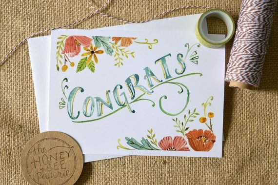 Watercolor Congratulations Card/ Celebration Card/ Floral Congrats Card- 5x7