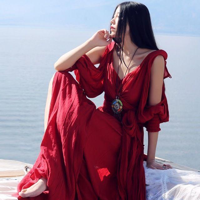 MAIXU Primavera Verão Mulheres Novidade Personalidade Do Vintage & Retro Sexy Com Decote Em V Slit Bandage Deusa Grega de Linho Vermelho Escuro Vestidos Longos