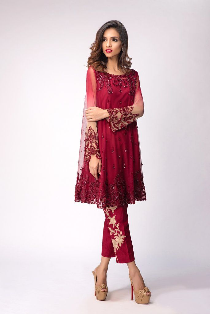 f6da45f10b Elegant and stylish adorned Pakistani semi formal dress by Mina Hasan |  Luxury Pret – Mina Hasan | Dresses, Formal dresses, Pakistani dresses