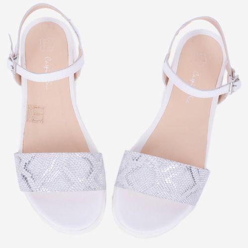 Sandale alb cu argintiu din piele naturala Jocelyn