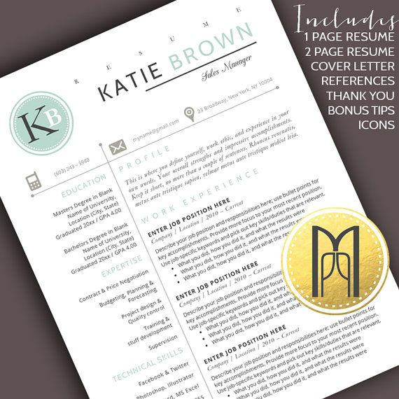 Resume Template and Cover Letter Template   Professional Creative Modern Resume Template   WORD   DIY Printable 4 pk   Instant Download No.8
