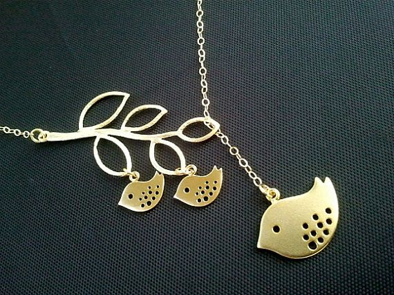Personalized Family Bird on the branch Lariat by LaLaCrystal