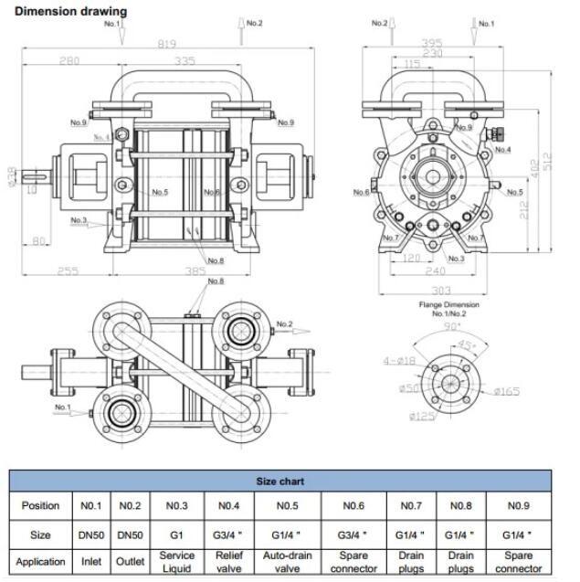 Two Stage Liquid Ring Vacuum Pump Installation Dimensions Vacuum