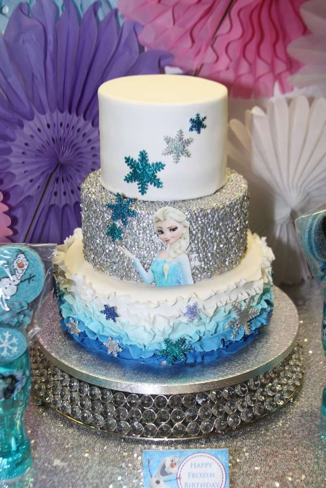 Amazing Elsa cake at a Frozen birthday party! See more party planning ideas at CatchMyParty.com!