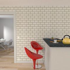 Ambiance loft dans votre intérieur avec ce papier peint vinyle CARRELAGE METRO !  Très en vogue, ce modèle imitation carrelage de métro habillera votre pièce d'un effet des plus réalistes. Effet trompe- l'oeil garanti !