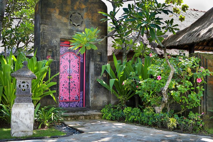 The Royal Beach Seminyak, Bali. Large Pink/red flowering Crinum's, Spider lily, small woody border plant, Croton, Plumeria & Pink flowering Hibiscus to go with the door.