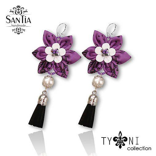 San-Tia / Náušnice: Kvety so strapcom (Fialovo-čierno-biele)