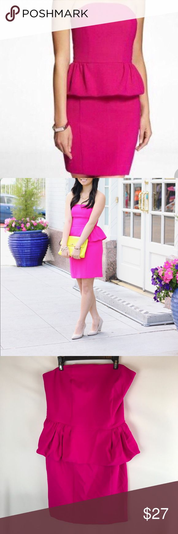 Express Hot Pink Peplum Tube Top Body-con Dress Like New, Washed & Worn Only Once! Express Hot Pink Dress! Mini Dress, Peplum Waist, Fully Lined, Detachable Straps are Not Included, Back Zipper, Hook & Eye Closure, Mini Back Vent Skirt. Super Girly!!! From a Smoke Free Home. Express Dresses Strapless