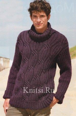Мужской свитер, спицами