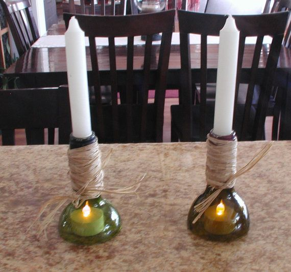 Smaller cut wine bottle candleabras by CRwinebottles on Etsy, $8.00