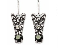 Decorative earrings with a dark crystal