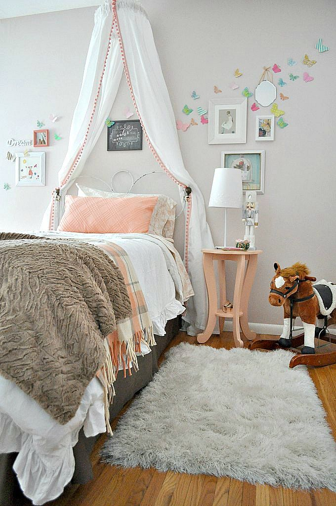 Lulu's Room: The Big Reveal | The Big Reveal  Lovin that canopy and the Simply Shabby Chic® Heirloom White Comforter from Target