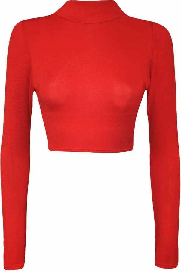 Ladies Womens Long Sleeve Ribbed Cold Cut High Turtle Polo Neck Out Shoulder Top
