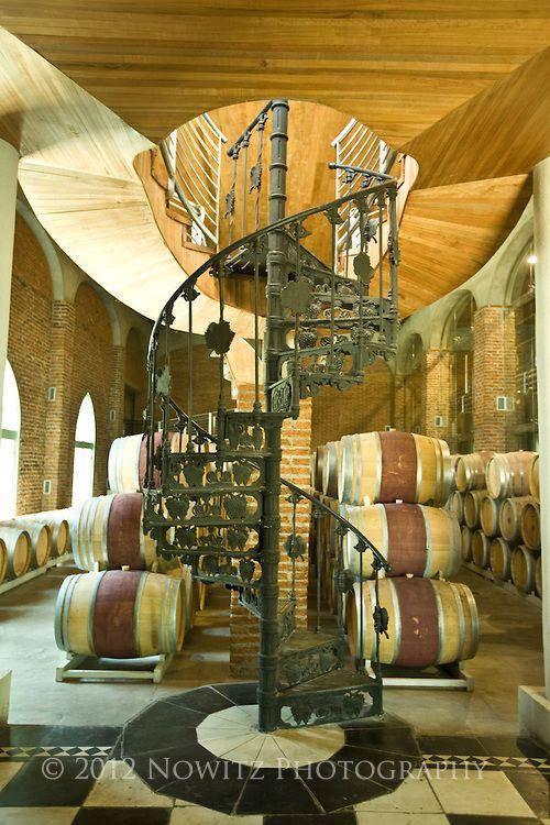 Vina del Mar Winery spiral staircase, Casa Blanca Valley, wine growing region west of Santiago, Chile.