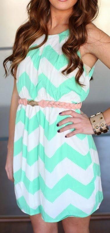WE HEART FASHION: Mint White Chevron Sleeveless Dress
