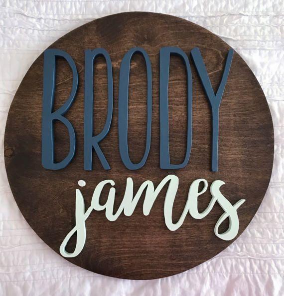 18 Round Custom Wood Sign  Name Sign  Nursery Decor by TheWoodipop