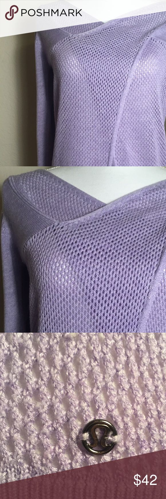 "Lululemon Sweater Beautiful lavender sweater. Crossover style with open weave detail. Bust measures 34"". Length is 23"". Good conditio. 🇺🇸 lululemon athletica Sweaters Cardigans"