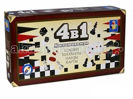 1 Toy Игра настольная 4 в 1 Шашки/шахматы/нарды/карты на магните  — 320 руб.  —   1 Toy Игра настольная 4 в 1 Шашки/шахматы/нарды/карты на магните - настольная игра для всей семьи, которая включает в себя четыре разновидности на любой вкус.  Данная модель идеально подойдет как для игры дома, так и в дороге, благодаря тому, что фигурки имеют магнитную основу. Также в наборе есть карты.  Всем известные игры теперь можно получить за одну покупку!