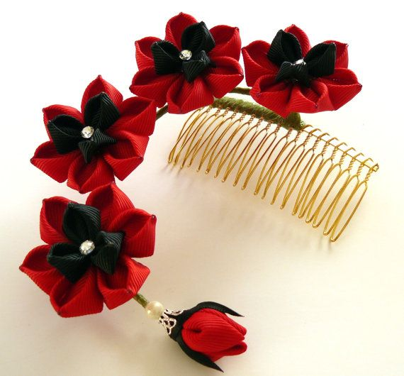 The flowers are made in the technique of tsumami kanzashi.    Flowers are made from grosgrain ribbons.    MADE TO ORDER.    At your request can be made a
