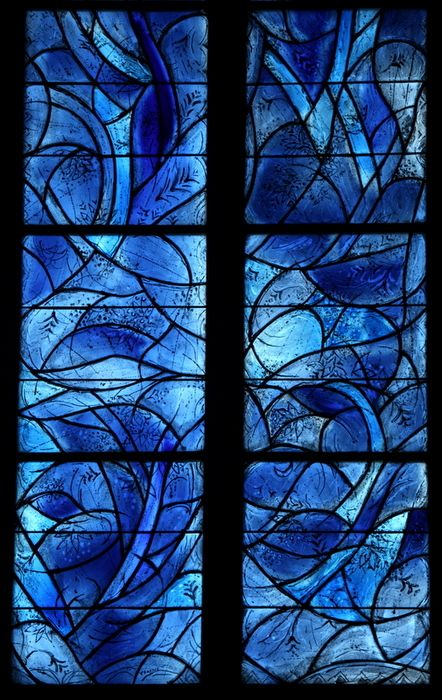 Stained glass work by Charles Marq (student of Marc Chagall) in St. Stephan's Church, Mainz, Germany. Photo by Suppiluliuma.