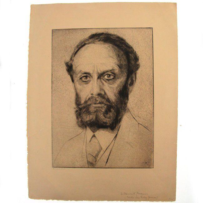 Hermann Struck - Dr. Heinrich Braun Portrait, Etching. : Lot 44