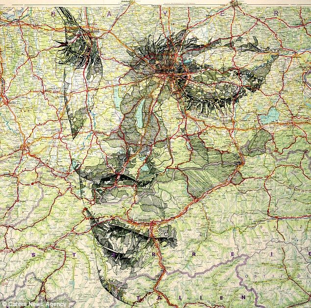 Patchwork: Mr Fairburn started on the map portraits in August last year following some previous work using wood to create the pattern of ski...