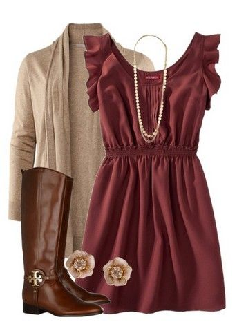 The Mini Dress, Cardigan and Knee-length Boots for Spring 2014 Outfit Ideas....add some pants and it would perfect