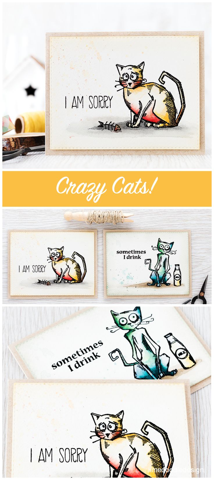 The Crazy Cats from Tim Holtz are so much fun! Find out more by clicking the following link: http://limedoodledesign.com/2016/02/crazy-cats/ cat greeting card fun