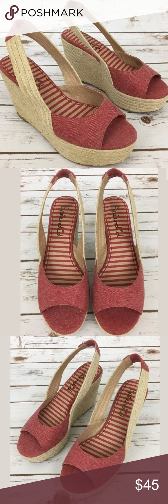 Red Espadrilles Wedge Heel Platform Shoes This red espadrille wedge is made/designed by Splendid! It has a minor stain on the right wedge-very unnoticeable! Message me for more information! Xx Splendid Shoes Espadrilles
