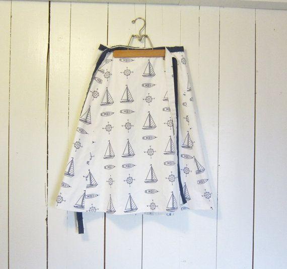1970s Nautical skirt Sailboat Wrap / boats by VintageGirLNY