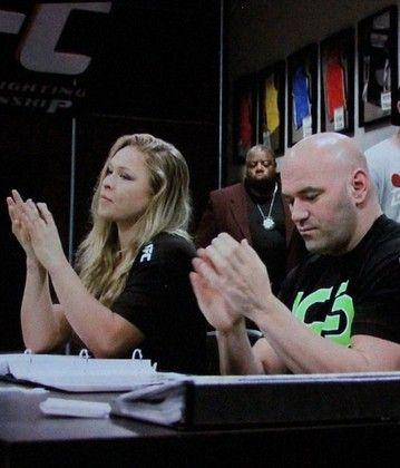 Ronda Rousey, Dana White e Miesha Tate UFC MMA (Foto: Evelyn Rodrigues)