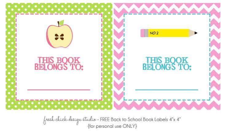 Free printable bookplates #backtoschool #free #printables