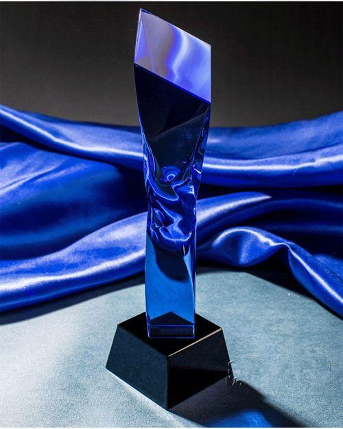 Regali di lusso unico premio di cristallo azzurro