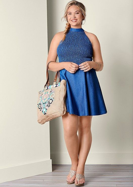 Venus Women's Plus Size Smocked Top Dress - Blue , 22