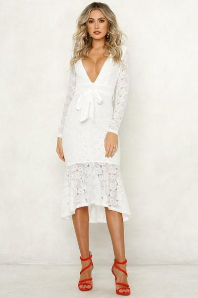 94d2dcdf5c6 Deep V Sexy Long Sleeve Midi Lace Dress in 2019 | SAW | White lace ...