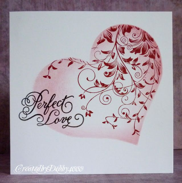 CAS. Ink only. Heart mask. Slightly sponged edges. Swirly overstamp. By: A Scrapjourney.