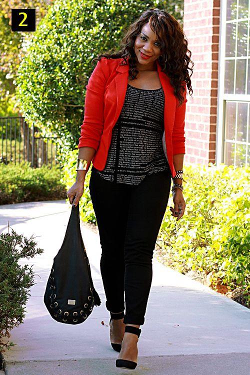 Red blazer black skinnies strappy heels oversized bag