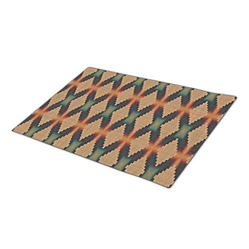 HomeTaste Outdoor Rubber Mats Teal Blue Green Burnt Orange Rustic Mosaic Pattern Funny Doormats ** For more information, visit image link.