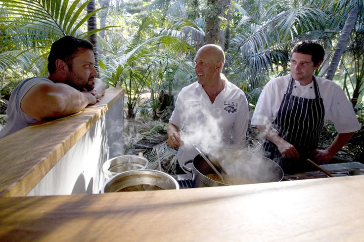 Celebrity chef, Steven Snow, teaching a cooking class with Al and Dave   Lord Howe Island
