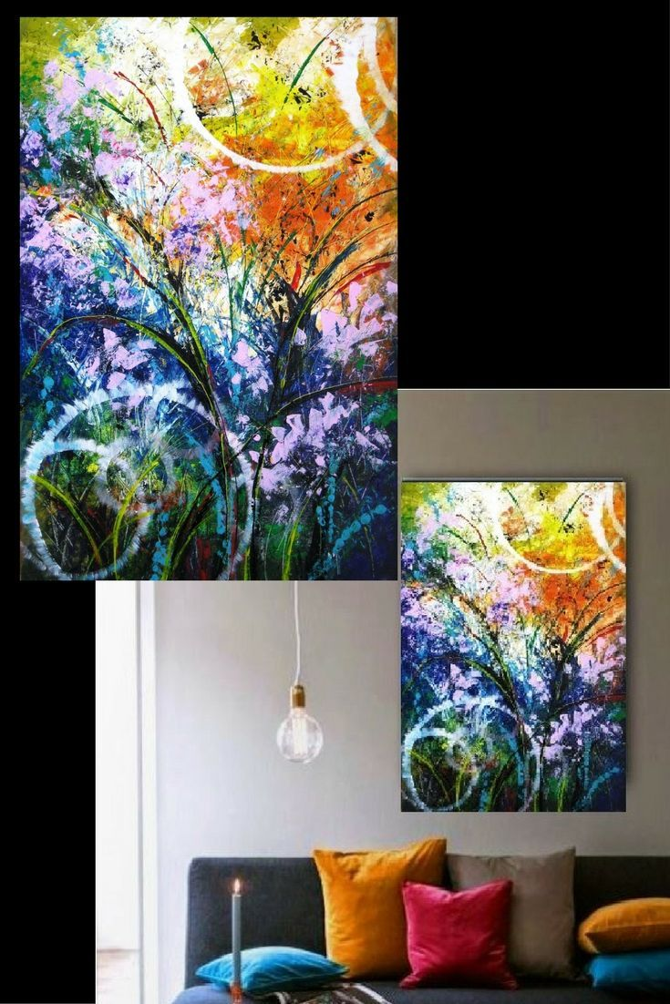 Abstract acrylic painting. Living room wall decor art.
