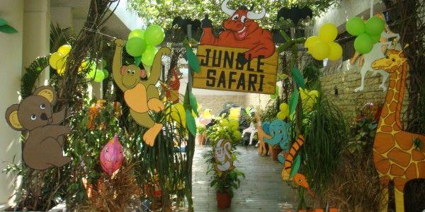 Jungle decoration ideas jungle theme party entrance for Decoration jungle