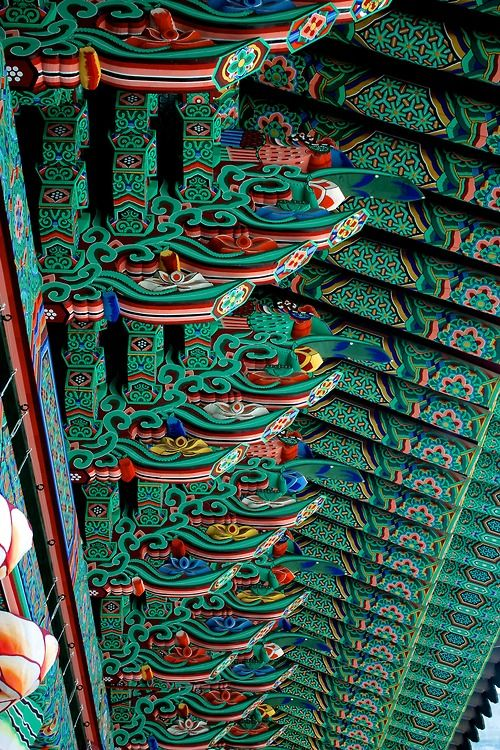 Roof Painting, Jogyesa temple, Korea don't go to korea..they boil dogs alive then eat them