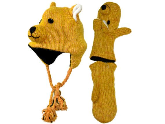 Teddy bear animal knit hat with mittens set  by HatsMittensEtc