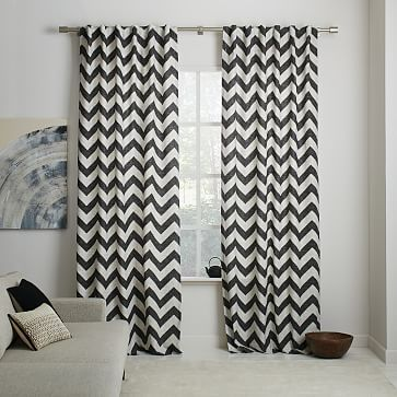 Cotton Canvas Zigzag Printed Curtain - Slate #westelm