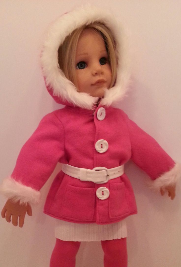 """For Sale, Pink Brushed Soft Lined Hoodie Coat & White Belt for Hanna Gotz American Girl White Fur Trim 18"""" Doll by SalStuffShop on Etsy. Find Sally Channon on Facebook UK and also Salstuff on Ebay."""